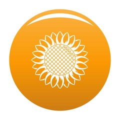 Round sunflower icon. Simple illustration of round sunflower vector icon for any design orange