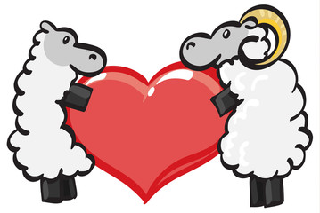 Two sheep holding a heart.