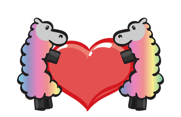 Two Rainbow Ewes holding a rainbow heart