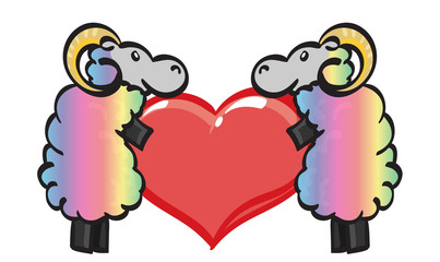 Two Rainbow Rams holding a rainbow heart