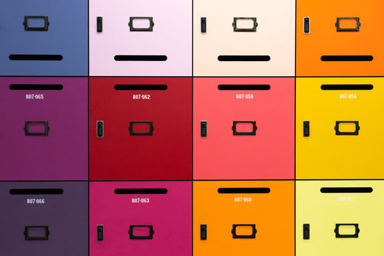 Deposit boxes of various colors