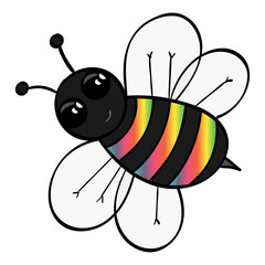 Rainbow Stripped Cartoon Bee