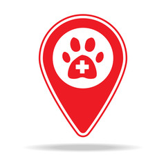 veterinary care map pin icon. Element of warning navigation pin icon for mobile concept and web apps. Detailed veterinary care map pin icon can be used for web and mobile