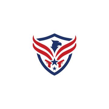 Eagle and shield logo emblem template vector