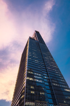 Tall skyscraper at dusk