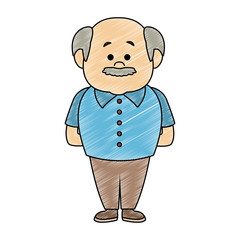 Cut grandfather face cartoon vector illustration graphic design
