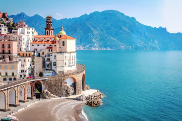 Zelfklevend Fotobehang Kust The scenic village of Atrani, Amalfi Coast