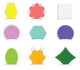 Collection of blank labels in vector format, isolated.