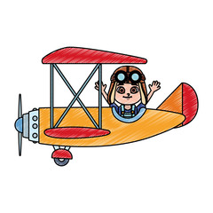 Cute boy flying in airplane vector illustration graphic design