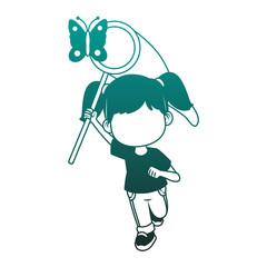 Cute girl catching butterflies vector illustration graphic design