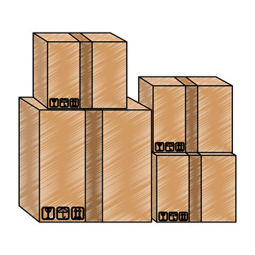 Cardboard boxes stacked vector illustration graphic design