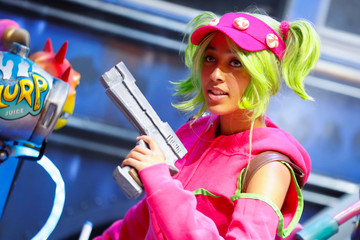 An attendee dresses as a character from the game Fortnite at E3, the world's largest video game industry convention in Los Angeles