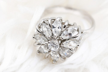 Diamond flower ring , love symbol