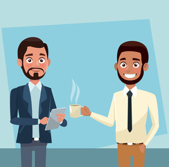 Business people drinking coffee and talking vector illustration graphic design