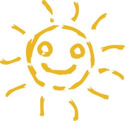 Yellow Hand-painted sun illustration