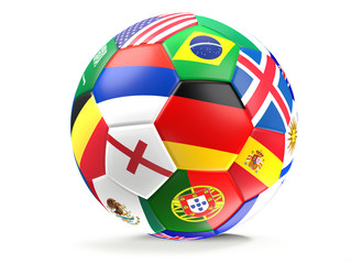 soccer ball flags 3d rendering isolated