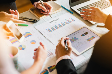 businessman investment consultant analyzing company financial report balance sheet statement working with documents graphs. Concept picture for stock market, office, tax,and project.