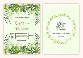 Wedding card with beautiful hand drawn watercolor background,Includes Invintation.