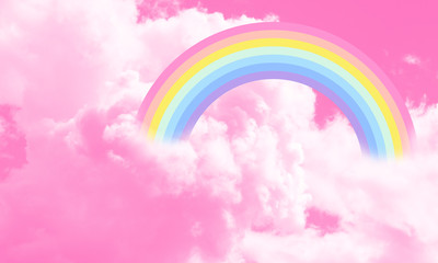 Cotton candy sky pink background illustration, rainbow in the clouds.