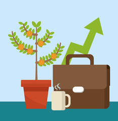 Briefcase and money plant with coffee cup vector illustration graphic design