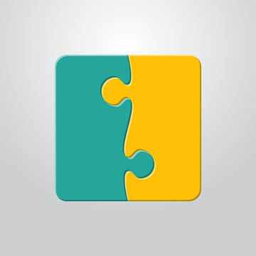 Two Piece Puzzle. 2 Step Puzzle Jigsaw Pieces.