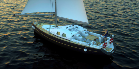 Extremeley detailed and realistic high resolution 3D Sailing Illustration