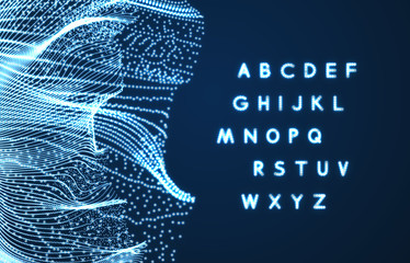 Neon light alphabet. Dotted font. Abstract vector background with letter signs. Design elements.