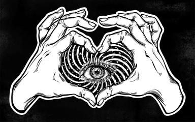 Gands heart sign with eye in vortex hypnotic warp.