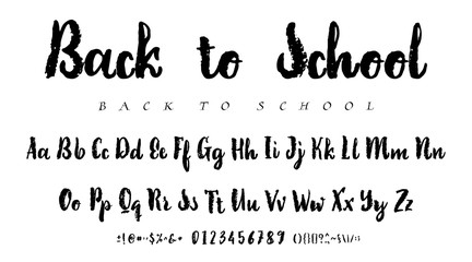 Latin alphabet ink - badge Back to School. Trend font 2018 Color in cute cartoon flat style.