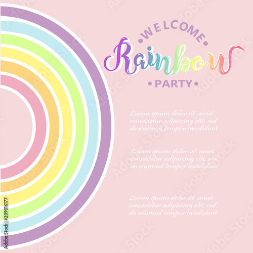 template for rainbow party happy birthday card party invitation