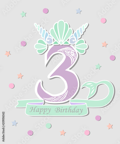 Vector illustration number three with mermaid tail and shell crown vector illustration number three with mermaid tail and shell crown template for mermaid style birthday maxwellsz