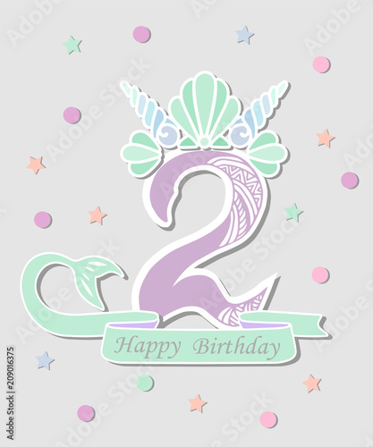 Vector Illustration Number Two With Mermaid Tail Shell Crown Template For Style Birthday Party Invitation Greeting Card