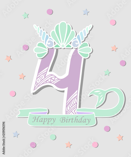 Vector Illustration Number Four With Mermaid Tail And Shell Crown Template For Style Birthday Party Invitation Greeting Card