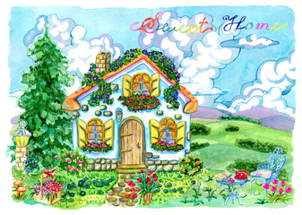 Beautiful cottage with garden furniture, flowers and conifer. Vintage country background with summer rural landscape, garden and cute house, hand painted watercolor illustration