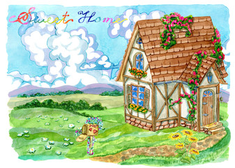 Summer landscape with fachwerk cottage, post box, green field, sky with clouds and lettering. Vintage country background with summer rural landscape, garden and cute house,watercolor illustration