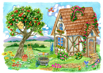Fachwerk cottage house with apple tree, old well, garden objects and bird. Vintage country background with summer rural landscape, garden and cute house, hand painted watercolor illustration