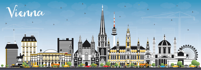 Vienna Austria City Skyline with Color Buildings and Blue Sky.