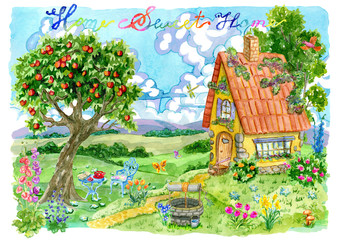 Cute small house with apple tree, well, flowers and lettering against green field and clouds. Vintage country background with summer rural landscape, garden and cute house, watercolor illustration
