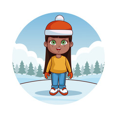 Happy kids with winter clothes cute cartoon vector illustration graphic design
