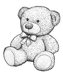 Teddy bear illustration, drawing, engraving, ink, line art, vector