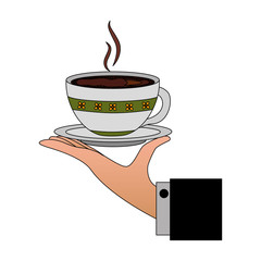 hand holding decorative flower hot coffee cup on dish vector illustration