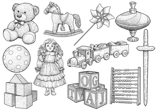 Children toy collection, illustration, drawing, engraving, ink, line art, vector