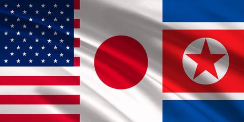 アメリカ 日本 北朝鮮  国旗 背景