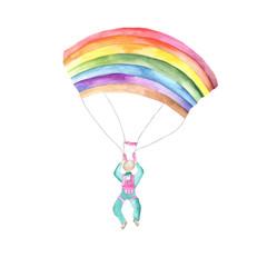парашютист акварели радуга