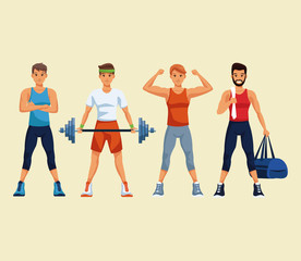 Set of fitness mens with sport wear vector illustration graphic design