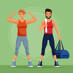 Two fitness mens with sport wear vector illustration graphic design
