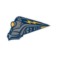Steam Locomotive Lightning Bolt Mascot