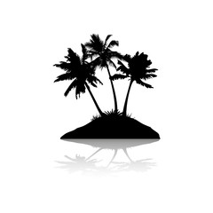 Silhouette with shadow, island with three palm trees, on white background,