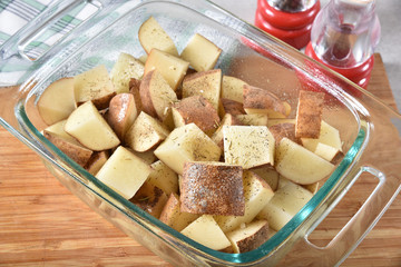 Cubed potatoes in a baking dish