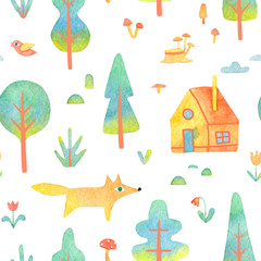 Watercolor seamless pattern with trees, house, animal isolated on white background. Hand-drawn illustration with forest elements in cartoon style for your design.